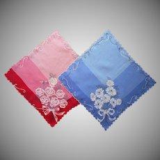 Vintage Pair Hankies Hankie Red Blue Roses Printed Embroidered