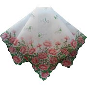 Vintage Hankie Cotton Print Pink Carnations Lily Of The Valley