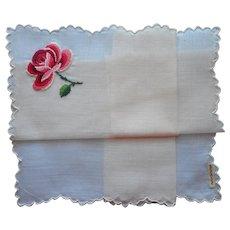Vintage Hankie Handkerchief Rose Hand Embroidered Unused Swiss Label