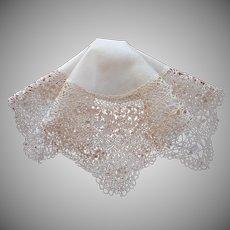 Antique Silk Maltese Lace Hankie Handkerchief Wedding