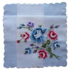 Vintage Hankie Unused Swiss Hand Embroidered Blue Pink Purple Roses