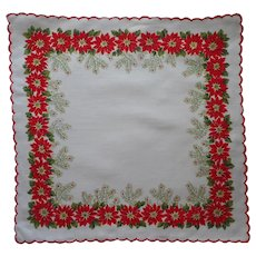 Vintage Hankie Christmas Unused Print Cotton Poinsettias Pine Branches