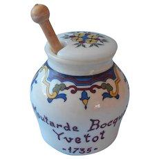 French Milk Glass Mustard Jar Vintage Boquet Yvetot