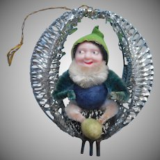 Vintage Gnome Christmas Tree Ornament Spun Cotton Metal Mesh