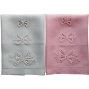 Guest Towels Vintage Unused Linen Pink Green Lace Bows