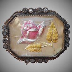Edwardian Rose Pin Antique Glass Reverse Painted Intaglio TLC