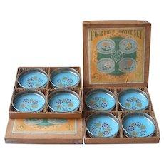 1930s Coasters Art Deco Turquoise Color Original Boxes Vintage Japan