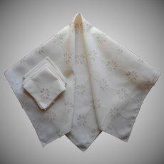 Italian Work Tea Tablecloth Napkins Set Vintage Linen Hand Embroidery
