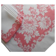 Vintage Tablecloth Napkins Set Pink White Printed Linen Blend Dahlias