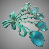 Vintage Brooch Pin Aqua Stones and Painted Spray w Bow