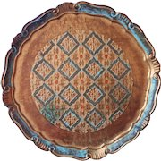 Florentine Tray Vintage Italy Turquoise Gold Wood Gesso Orange Accents Italian