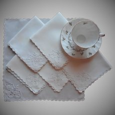 Tea Napkins Vintage Linen Cutwork Hand Embroidery Set 6