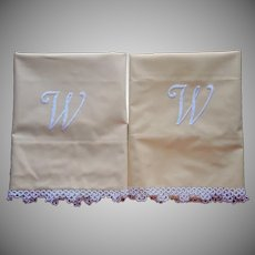 Monogram W Pillowcases Pair Vintage Tatted Lace Golden Yellow Cotton