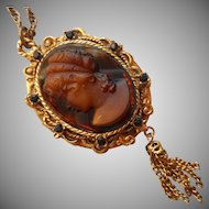 Cameo Locket Necklace Brown Glass Vintage Rich Warm Colors