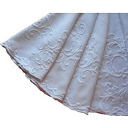 Antique French Round Tablecloth Hand Embroidered Thick Heavy