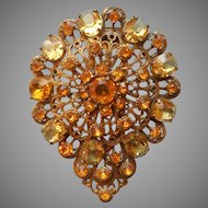 Huge Dress Clip Vintage Yellow Glass Stones Ornate Brass ca 1930