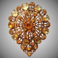 Huge Dress Clip Vintage Yellow Glass Stones Ornate Brass ca 1930