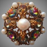 Rivoli Glass Stones Faux Pearls Vintage Filigree Pin Brooch