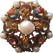 Rivoli Glass Stones Faux Pearls Vintage Filigree Pin Brooch