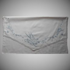Antique Pillow Sham Blue Bird Birds Swallows Hand Embroidery Pillowcase