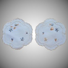 Antique Silk Embroidery Violets Pair Doilies Silk Society Hand Embroidered
