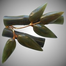 Vintage Jade Pin Bamboo Leaves Stems SMS