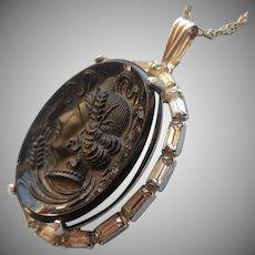 Vintage Black Glass Cameo Rhinestone Frame Pendant Necklace