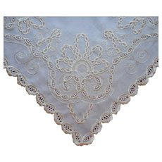 Antique Silk Embroidery Lace Inserts Square Topper Centerpiece Doily