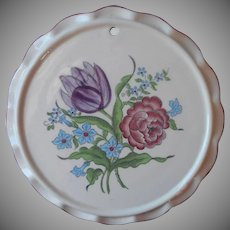 Vintage Faience Tea Trivet French Bouquet Seymour Mann Hand Painted Pottery
