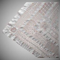 Antique Tablecloth Drawn Work Big Wide 100 x 82 circa 1900
