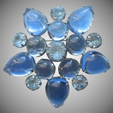 Weiss Pin Blue Star Glass Cabochons Rhinestones Vintage Brooch