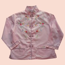 Vintage Child's Shirt Chinese Hand Embroidered Pink Cotton 6 Top