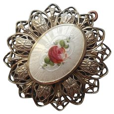 Vintage Locket Enamel Pink Rose Lacy 1920s