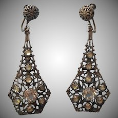 1920s Earrings Filigree Long Dangle Vintage Screw Back Clear Stones