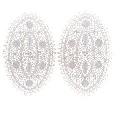 Pair Torchon Bobbin Lace Doilies Unused Oval Bread Tray Size