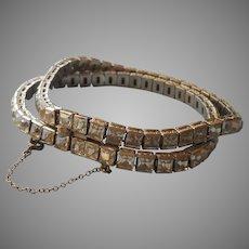 Sterling Art Deco Bracelet Vintage Double Row Square Stones Silver