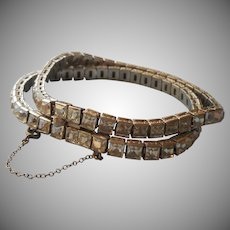 Sterling Art Deco Bracelet Vintage Double Row Square Stones Silver