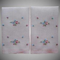 Fingertip Towels Vintage Linen Guest Pink Hand Embroidery