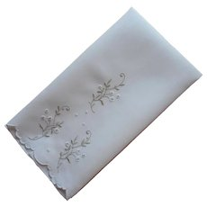 Madeira Guest Towel Sage Green White Hand Embroidery Linen