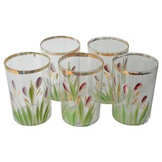 Antique Tumblers Glasses 5 Purple Flowers Green Leaves Painted Gold