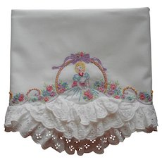 Southern Belle Pillowcase Vintage Hand Embroidery Eyelet Lace Ruffles