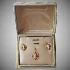 1930s Cameo Gold Filled Earrings Pendant Bojar Original Box Vintage