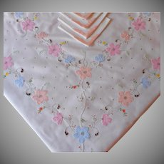 Tablecloth Napkins Set Vintage Appliqued Hand Embroidered Peach and Pastel