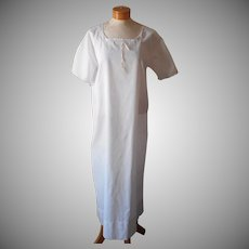 1920s Italian Nightgown Cotton Vintage Simple Embroidery M