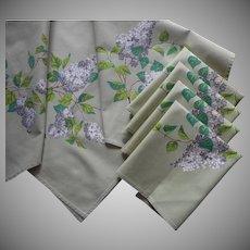 Wilendur Lilacs Lilac Print Vintage Tablecloth Topper 4 Napkins Set Green