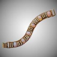 1950s Bracelet Glass Faux Pink Opals Faux Pearls Vintage