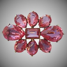 Edwardian Pin Bright Pink Glass Faceted Stones Antique