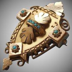 Victorian Hidden Locket Antique Pendant Pin Brooch Turquoise