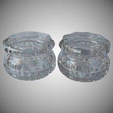 Pair Antique Heisey Vanity Jars Cut and Pressed Glass Handsome Heavy