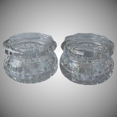 Pair Antique Heisey Vanity Jars Cut and Pressed Glass Handsome Heavy